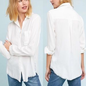 Cloth & Stone • White Stargazer Buttondown Raw Hem